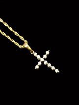 10K gold 0.08ct Diamonds Cross with Chain