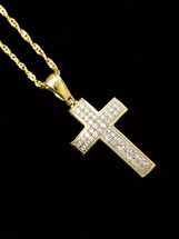 10K gold 0.15ct diamonds cross with chain