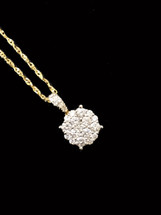 14K Gold 0.43ct diamonds pendant With Chain