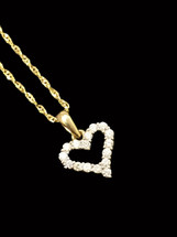 14K Gold 0.25ct Diamonds Heart With Chain