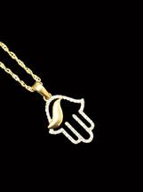 10K gold 0.10ct Diamonds hamsa With Chain