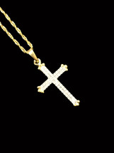 10K Gold 0.10ct Diamonds Cross With Chain