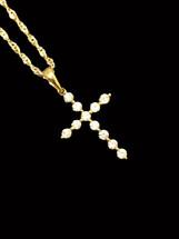 10K Gold 0.25 ct Diamonds Cross With Chain