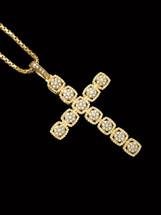 10K Gold 2.00ct Diamonds Cross With Chain