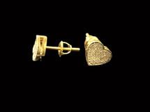 10K Gold 0.10Ct Diamonds Heart Earrings
