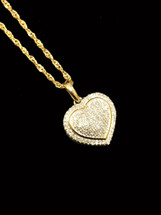 10K Gold 0.15ct diamonds heart withchain