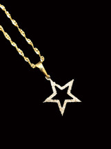 10K Gold 0.12Ct Diamonds Star With Chain