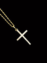 10K gold 0.05ct Diamonds Cross With Chain
