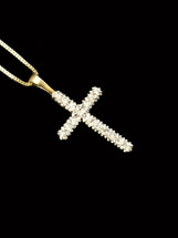 10K Gold 0.26ct Diamonds Cross With Chain