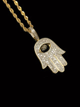 10K gold 0.44ct Diamonds Hamsa With Chain