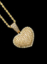 10K Gold 1.35ct Diamonds Heart With Chain
