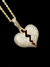 10K Gold 0.60ct Diamonds Broken Heart With Chain