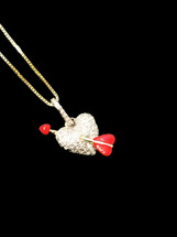 10K Gold 0.12  Ct Diamonds Heart With Chain