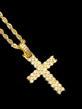 10K gold 1ct Diamonds Cross With Chain