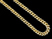 "Men's  Real Diamond Chain Cuban Necklace 10K Yellow Gold 22"" 15.25CT"