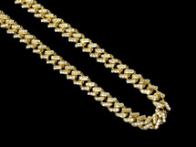 "Men's Real Diamond Chain Cuban Necklace 10K Yellow Gold 22"" 14 CT"