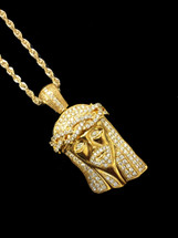 10K Gold 2.15Ct Diamonds Jesus With Chain