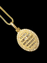 10K gold 1.95ct Diamonds Baguette Circle Pendant With Chain