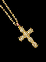 10K gold 1.20ct Diamonds Cross With Chain