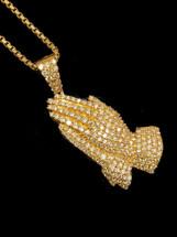10K gold 2.65ct Diamonds Praying Hand With Chain