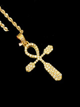 10K Gold 1ct Diamonds Ankh With Chain