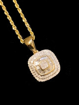14K Gold 0.40ct Diamonds Square Pendant With Chain