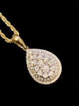 14K Gold 0.25ct Diamonds Oval Pendant With Chain