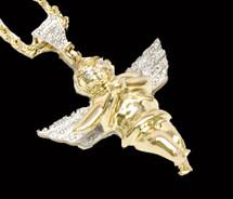 0.11CT Diamonds 10K Gold Angel Pendant