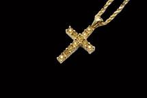 10K GOLD  0.14 CT YELLOW DIAMONDS CROSS