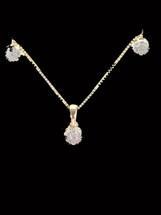14K  Gold 0.25 CT Diamonds Pendant with Earrings