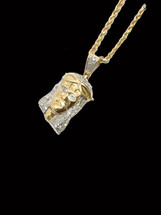 10K Gold Jesus Piece 0.34ct White Diamonds