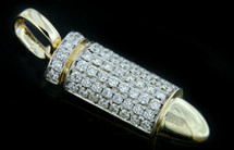 10K Gold 0.90CT Diamonds Bullet Pendant