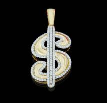 10K Gold 0.35CT Diamonds Dollar Sign Pendant