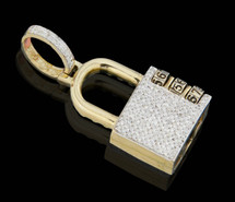 10K Gold 0.44CT Diamonds Lock Pendant