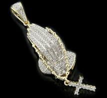 10K Gold 0.35CT Diamonds Praying Hands Pendant