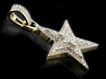 10K Gold 0.20CT Diamonds Mini Star Pendant