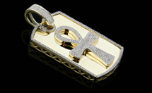 10K Gold 0.65CT Diamonds Ankh DogTag Pendant