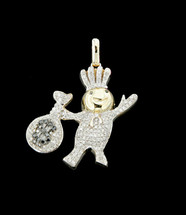 10K Gold 0.60CT Diamonds Micro D-Boy Pendant