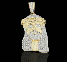 10K Gold 0.30CT Diamond Micro Jesus Pendant