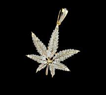 "10K Gold 0.38CT Diamonds Micro ""Leaf"" Pendant"