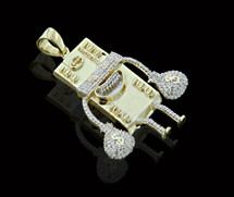 10K Gold 0.60CT Diamond Micro $100 Bill Figure Pendant
