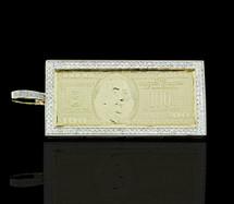 10K Gold 0.75CT Diamonds $100 Bill Pendant