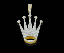 10K Gold 0.60CT Diamonds Crown Pendant