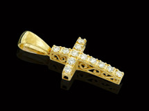 10K Gold 0.40CT Diamond Custom Cross Pendant