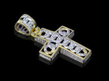 10K Gold 0.59CT Diamonds Link Cross Pendant
