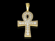 10K Gold 0.91CT Diamonds Ankh Pendant