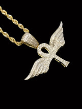 10K gold 0.30 ct diamonds ankh with wings with 10K gold chain