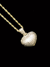 10K gold 0.16ct diamonds heart pendant with 10K gold chain