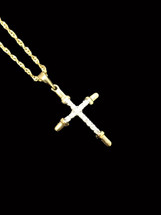 10K gold cross 0.10ct diamonds with 10K gold chain