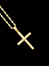 10K Gold 0.51ct diamonds cross with 10K gold chain